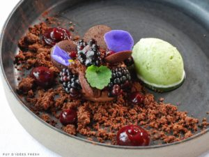 Autour du Chocolat Grand Cru Ilanka / Mûres / Sorbet Coriandre / Baies roses